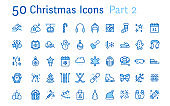 Merry Christmas, new year flat line icons. Gifts, winter sports, presents,skiing, hockey, snowboard, snowball game, snow removal vector illustrations Thin signs pixel perfect 48x48. Editable Stroke