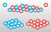 Like and Heart icon. Live stream video, chat, likes. Social nets blue thumb up like and red heart web buttons isolated on white background. Vector illustaration.