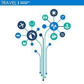Travel mechanism. Abstract background with connected gears and integrated flat icons. Vector interactive illustration.