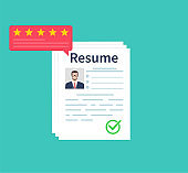 Man holding Resumes in hand. Concept of human resources management. Selecting staff and earching professional staff. Analyzing personnal resume. Flat design, vector illustration on green background.