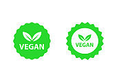 Vegan logos collection set, organic bio logos or signs. Raw, healthy food badges, tags set for cafe, restaurants, products packaging etc. Vector vegan sticker icons templates set.