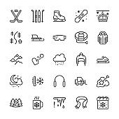 Winter sports line icons. Cold weather outdoor activities skiing, hockey, snowboard, snowball game, snow removal vector illustrations. Signs for equipment store. Pixel perfect 64x64 Editable Strokes