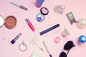 a set of female cosmetics, fashion, style, accessories, glamor, elegance. top view flat lay