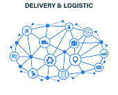 Delivery and Logistics concept. Express Delivery. Web icon set. Logistic, service, shipping, distribution, transport, market concepts.Vector illustration.