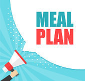 Male hand holding megaphone with Meal plan speech bubble. Loudspeaker. Banner for business, marketing and advertising. Vector illustration.