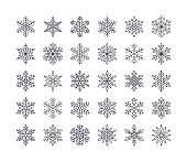 Cute snowflakes collection isolated on white background. Flat line snow icons, snow flakes silhouette. Nice element for christmas banner, cards. New year ornament
