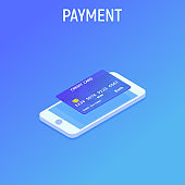 Smartphone and Cradit card. NFC payment. Isometric style. Vector illustration background.