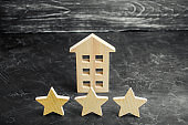 Three wooden stars and a house. Three star hotel or restaurant. Review of the critic. Quality of service and level of service. Rating of houses and private property. Evaluation of critics and visitors