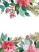 Watercolor Christmas arrangement of evergeen plants. Floral composition of poinsettia, spruce and red berries