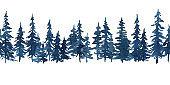 Watercolor indigo blue pine trees. Christmas and New Year horizontal seamless pattern
