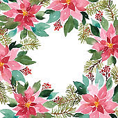 Watercolor Christmas frame arrangement of evergeen plants. Floral composition of poinsettia, spruce and red berries