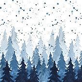 Watercolor indigo blue pine trees and snowfall. Christmas and New Year illustration