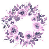 Watercolor loose floral wreath. Hand painted frame arrangement with peonies in purple