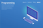 Programming and software development, program code on laptop screen, big data processing, computing isometric. Flat isometric vector illustration isolated on white background.