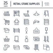 Retail store supplies line icons. Trade shop equipment signs. Commercial objects - cash register, basket, scales, shopping cart, shelving, display cases. Thin linear signs for warehouse store