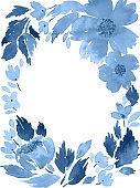 Watercolor loose flowers. Floral frame arrangement template in indigo blue