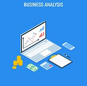 Business Analysis Concept strategy. Data and Investment. Business success.Financial review with laptop and infographic elements. Isometric images of accountant workspace elements money coins.