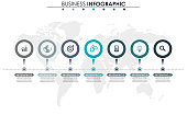 Business data, chart. Abstract elements of graph, diagram with 7 steps, strategy, options, parts or processes. Vector business template for presentation. Creative concept for infographic.