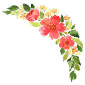Loose watercolor floral arrangement. Hand painted composition with red camellia flowers and green leaves