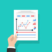 Businessman hold in hand Document with charts and graphs business reports. Isolated on background. Paperwork concept. Analyze graph and Data, project management. Vector illustration flat design.