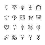 Balloonery flat line icons. Balloons for birthday party decoration, star, heart shape, confetti, foil balloon vector illustrations. Thin signs romantic present. Pixel perfect 64x64. Editable Strokes