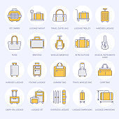 Luggage flat line icons. Carry-on, hardside suitcases, wheeled bags, pet carrier, travel backpack. Baggage dimensions and weight colored thin linear signs for airport
