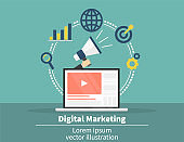 Digital marketing concept. Social network and media communication. SEO, SEM and promotion and business strategy.