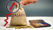 Bag with money and word Salary and up arrow with calculator. increase of salary, wage rates. promotion, career growth. raising the standard of living. increase profits and family budget.