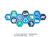 LOGISTIC mechanism concept. distribution, delivery, service, shipping, logistic, transport, market concepts. Abstract background with connected objects. Vector illustration.