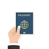 Passport in hand. Man holds in his hand the document. Personal identification. Passport for travel and business travels. Vector illustration, flat design style isolated on white background.