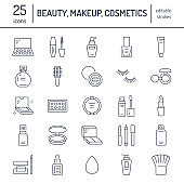 Makeup beauty care flat line icons. Cosmetics illustrations of lipstick, mascara, powder, eyeshadows, cushion foundation, nail polish, hair brush shampoo. Thin signs make up store Editable Strokes