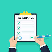 Man hold Registration clipboard with checklist. Man hold in hand clipboard agreement. Flat design, vector illustration on background.