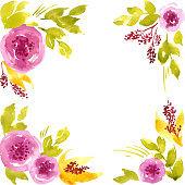 Watercolor loose pink peonies. Hand painted floral frame arrangement