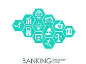 Banking mechanism. Abstract background with connected gears and integrated flat icons. symbols for money, card, bank, business and finance concepts. Vector interactive illustration.