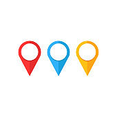 Internet ,Location icon. Maps pin. Location pin. Pin icon vector. Location map icon,navigator,marker vector. Web and mobile apps design. Colored icons.