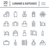 Luggage flat line icons. Carry-on, hardside suitcases, wheeled bags, pet carrier, travel backpack. Baggage dimensions and weight thin linear signs