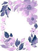 Watercolor loose flowers. Floral frame arrangement template in purple