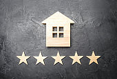 Wooden house and five stars on a gray background. Rating of houses and private property. Buying and selling, renting apartments. The level of the restaurant and hotels. Rating five stars.