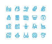 Breastfeeding, baby food vector flat line icons. Breast feeding elements - pump, woman, child, powdered milk, bottle sterilizer, nursing pillow. Maternity. Pixel perfect 64x64
