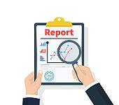 Man hold in hand Report with statistical data with charts, diagrams. Workplace documents for financial statistics, reporting, strategy development. Vector illustration flat design.