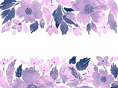 Watercolor loose flowers. Floral arrangement template in purple