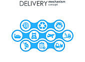 Delivery mechanism concept. Abstract background with connected gears and icons for logistic, service, strategy, shipping, distribution, transport, market, communicate concepts. Vector interactive.