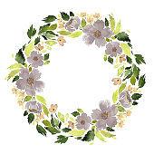 Watercolor loose flowers wreath. Floral circle arrangement template