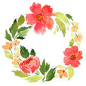 Watercolor loose red flowers wreath. Hand painted floral arrangement