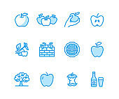 Apples flat line icons. Apple picking, autumn harvest festival, craft fruit cider vector illustrations. Thin signs for organic food store. Pixel perfect 48x48