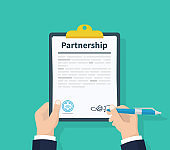 Partnership Concept. Man hold in hand clipboard agreement. Flat design, vector illustration on background.