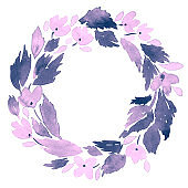 Watercolor wreath of loose flowers. Hand painted floral frame arrangement in purple