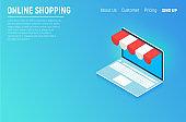 Online shopping isometric concept laptop. Flat design graphic elements, signs, symbols, line icons set. Vector illustration.