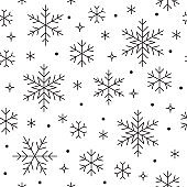 Seamless pattern with black snowflakes on white background. Flat line snowing icons, cute snow flakes repeat wallpaper. Nice element for christmas banner, wrapping. New year traditional ornament