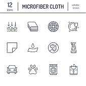 Microfiber cloth properties flat line icons. Absorbing material, dust cleaning, washable, antibacterial, clean detergent illustrations. Thin signs for napkin package. Editable Strokes